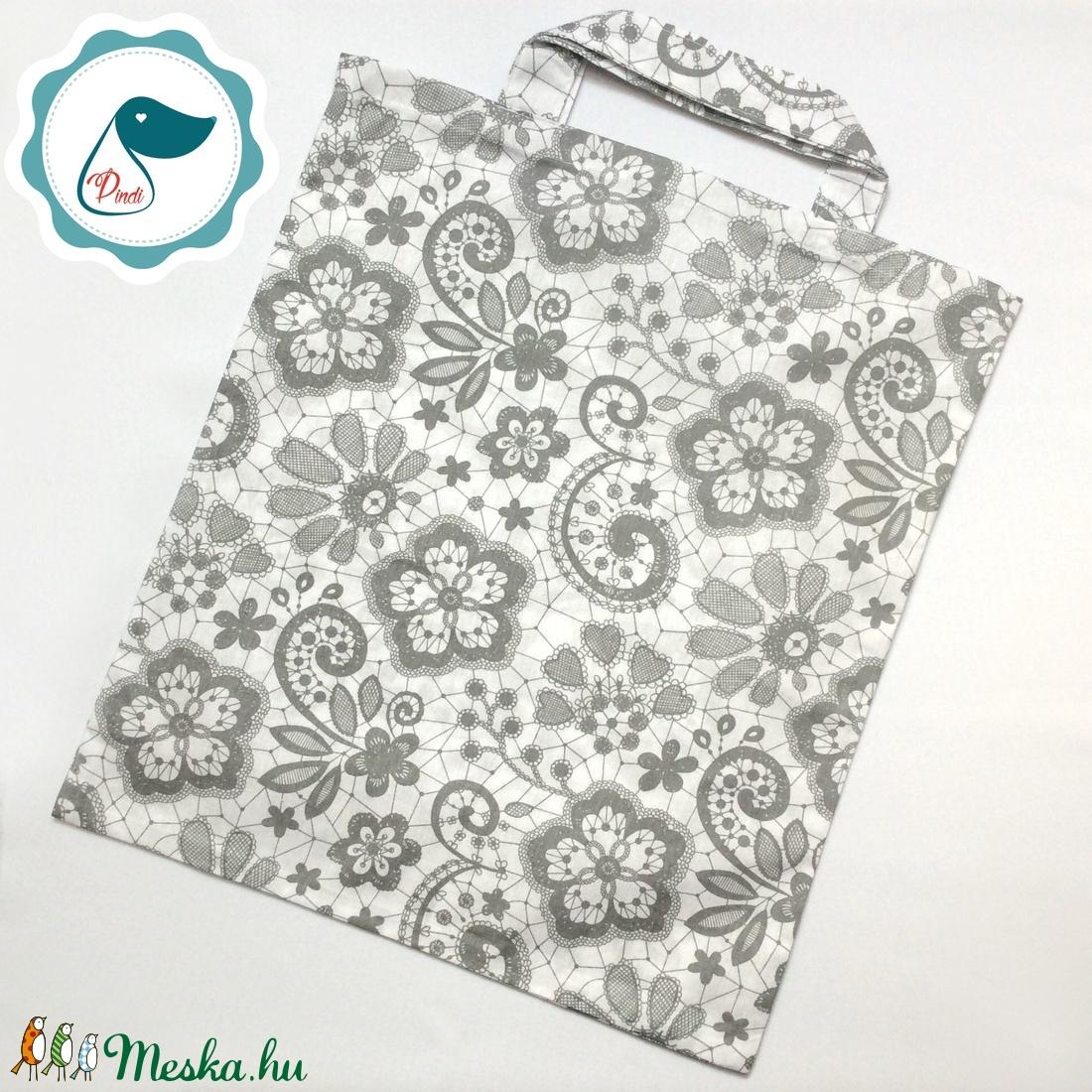 Szatyor - csipke mintás textil táska - bevásárló táska - egyedi bevásárló szatyor - textil szatyor - mosható szatyor - Meska.hu