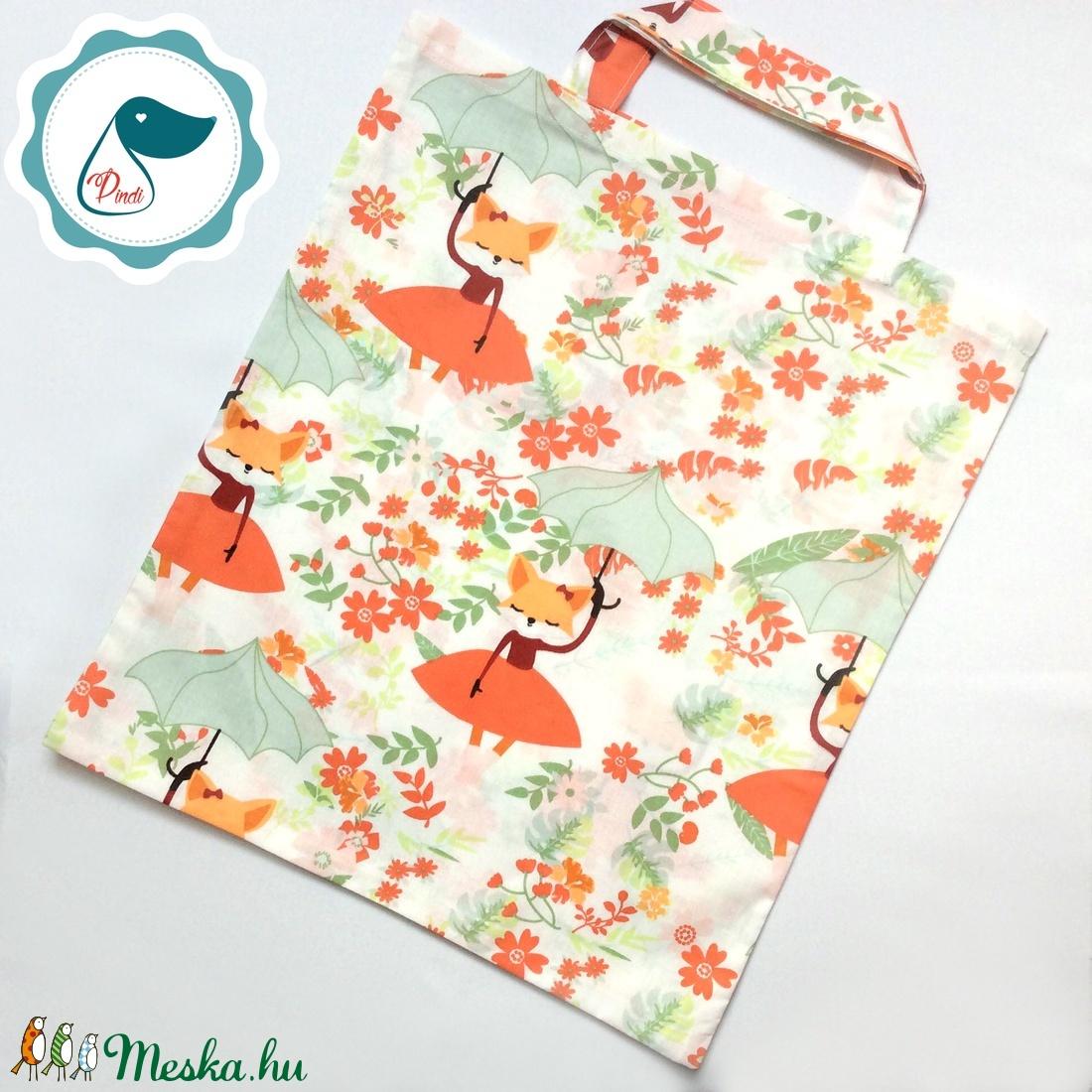 Szatyor - róka mintás textil táska - bevásárló táska - egyedi bevásárló szatyor - textil szatyor - mosható szatyor - Meska.hu