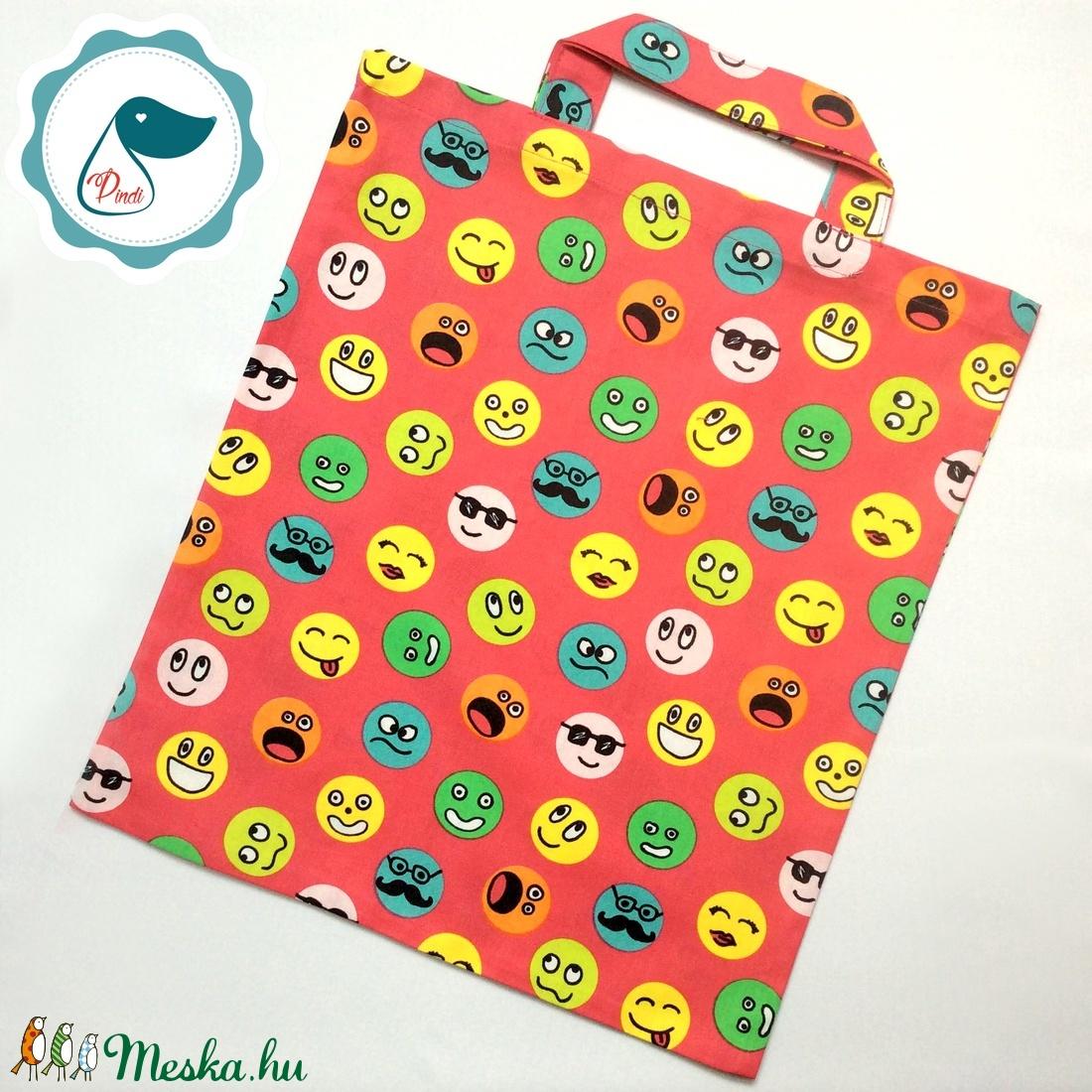 Szatyor - smile mintás textil táska - bevásárló táska - egyedi bevásárló szatyor - textil szatyor - mosható szatyor - Meska.hu