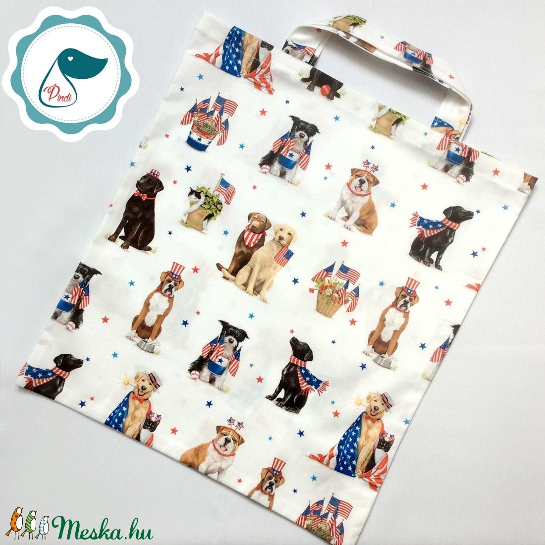 Szatyor - kutyás mintás textil táska - bevásárló táska - egyedi bevásárló szatyor - textil szatyor - mosható szatyor - Meska.hu