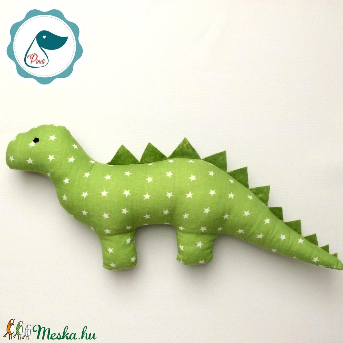Dinószaurusz - zöld csillag mintás egyedi tervezésű kézműves játék - textiljáték - dinó gyerek játék - Meska.hu