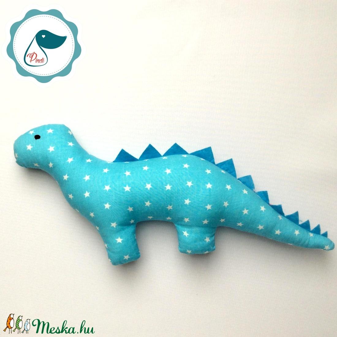Dinószaurusz - türkiz kék csillag mintás egyedi tervezésű kézműves játék - textiljáték - dinó gyerek játék - Meska.hu