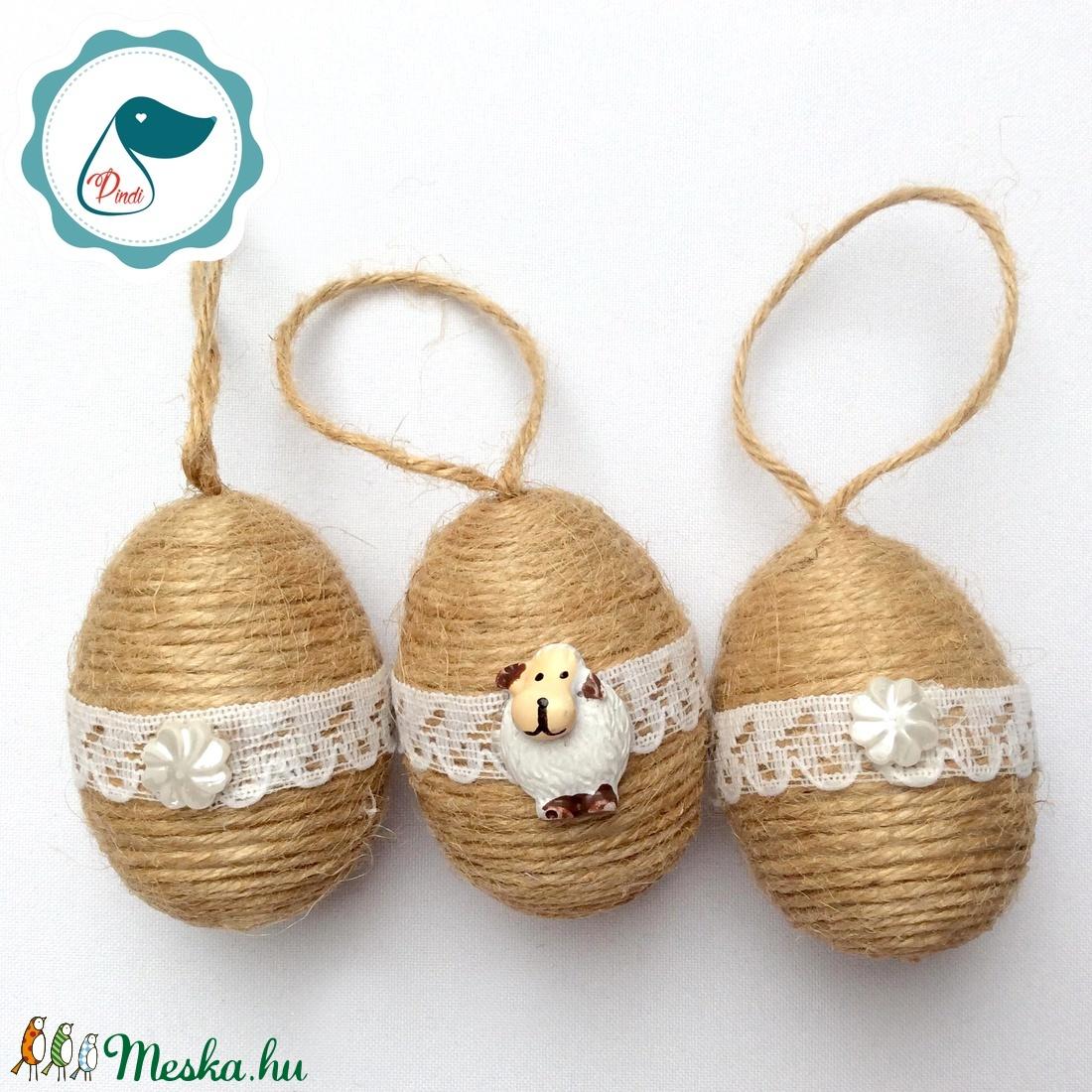 3db Vintage húsvéti tojás - húsvéti tojás dekorácíó  - Meska.hu