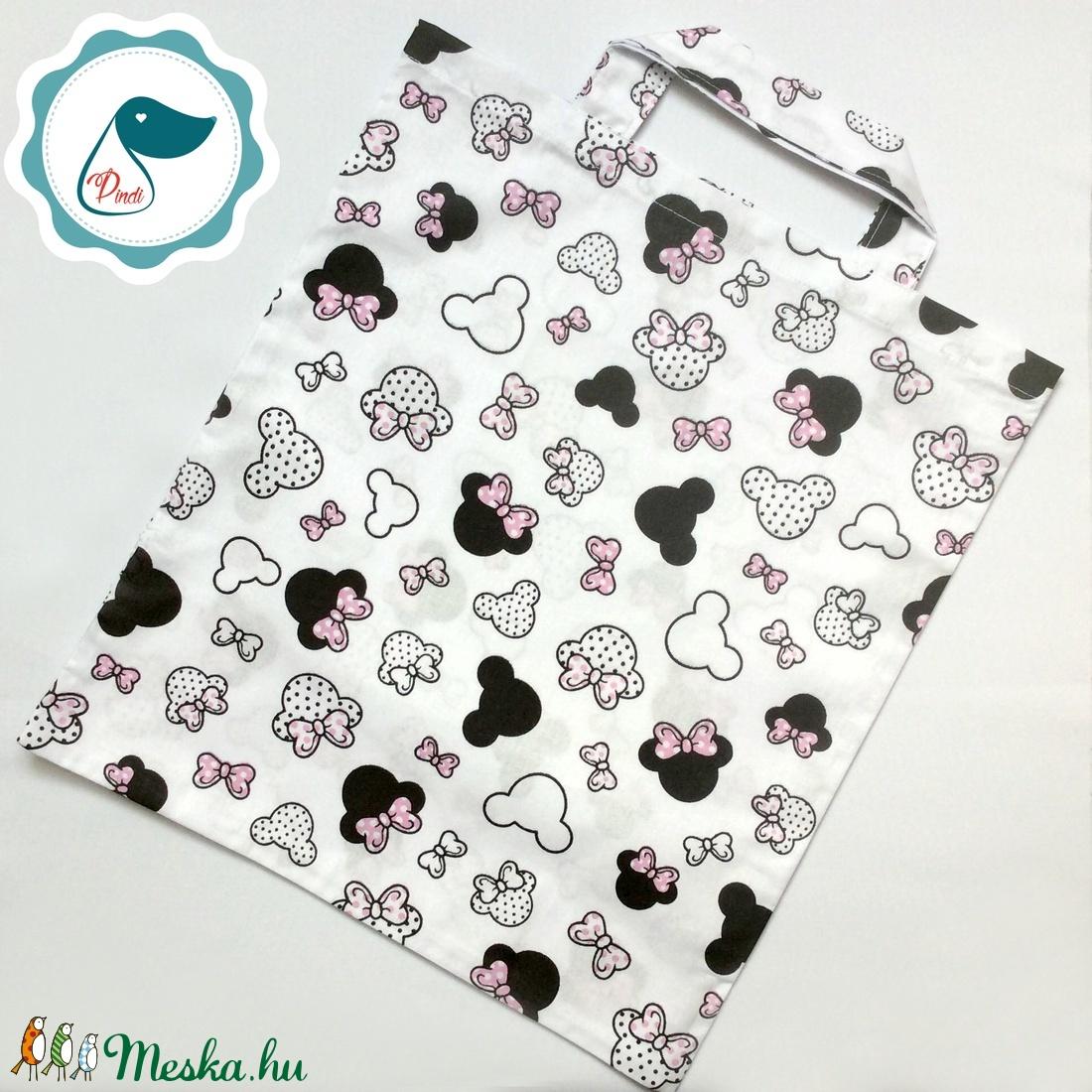 Szatyor - minnie mouse mintás - bevásárló táska  - egyedi bevásárló szatyor - textil szatyor - mosható szatyor - Meska.hu