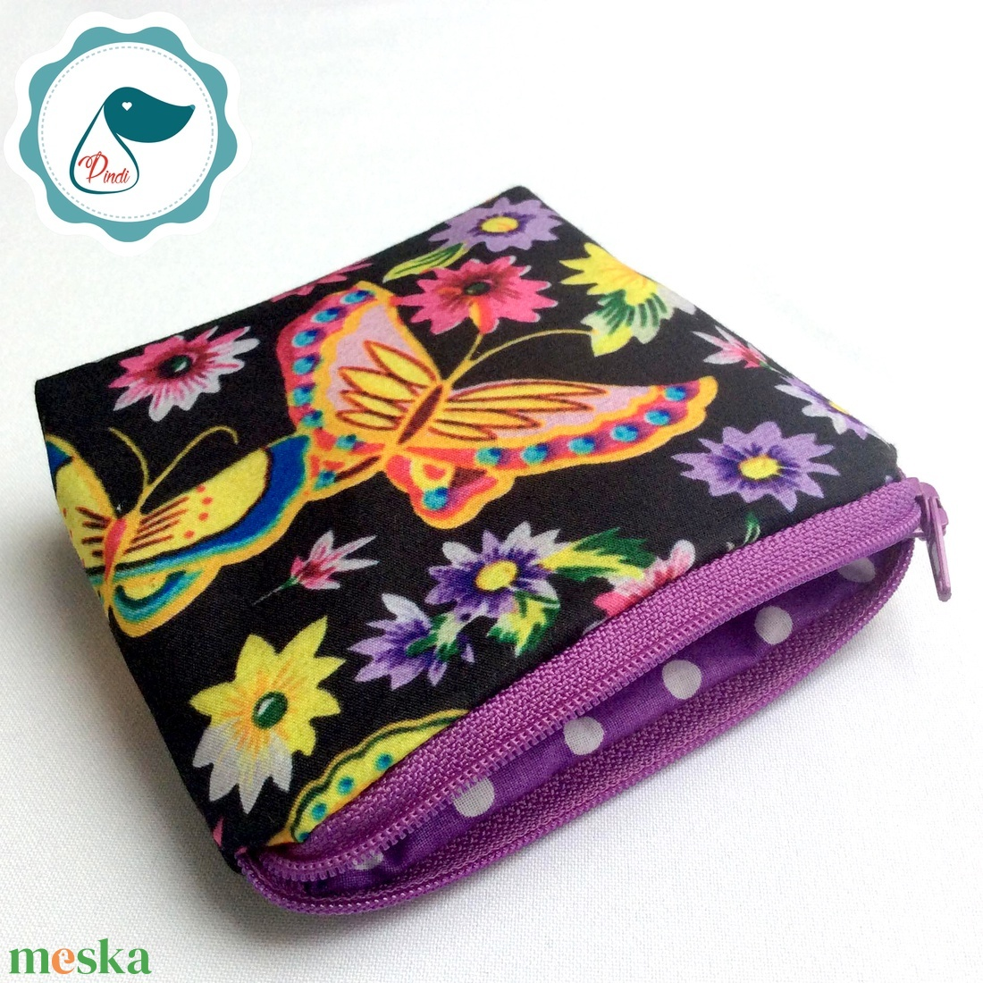 Egyedi prémium lepke mintás kis neszesszer - táska ki egészítő - tároló - pillangós aprópénztartó - táska & tok - neszesszer - Meska.hu