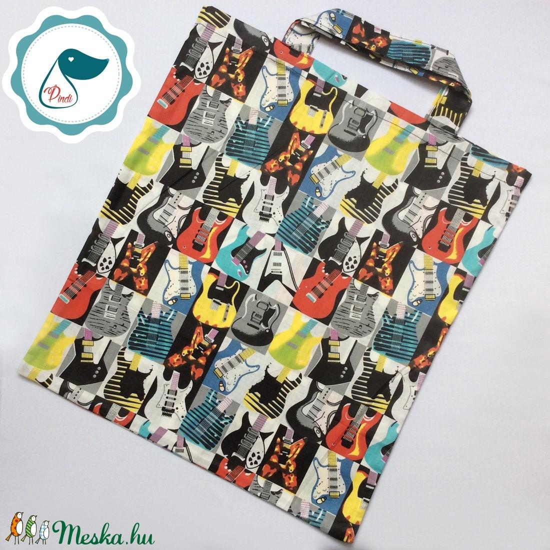 Szatyor - gitár mintás  bevásárló táska  - egyedi bevásárló szatyor - textil szatyor - mosható szatyor - Meska.hu