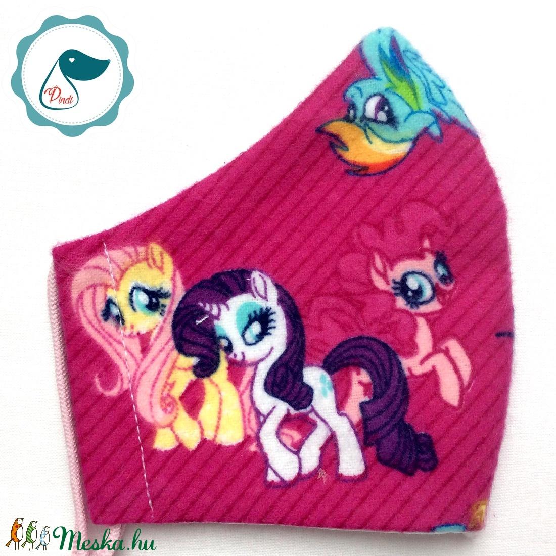 Egyedi póni mintás prémium flanel textil - gyerek szájmaszk  - egészségügyi szájmaszk - mosható szájmaszk - maszk, arcmaszk - gyerek - Meska.hu