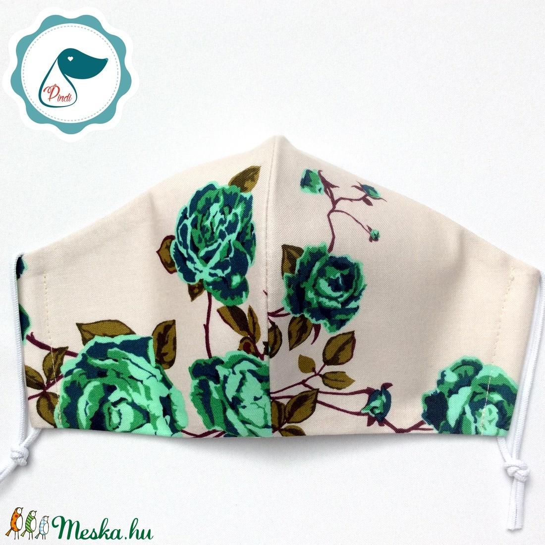 Egyedi rózsás maszk - prémium  női és teenager szájmaszk - textil szájmaszk - egészségügyi szájmaszk - maszk, arcmaszk - Meska.hu