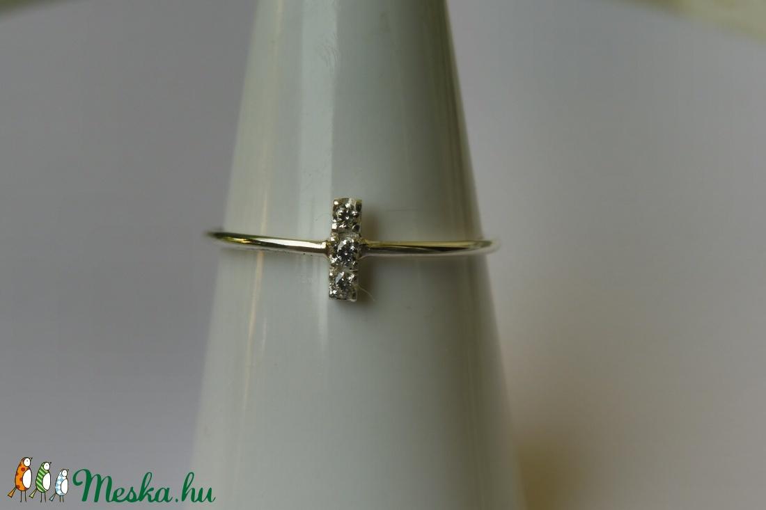 3 köves ezüst gyűrű  - ékszer - gyűrű - vékony gyűrű - Meska.hu