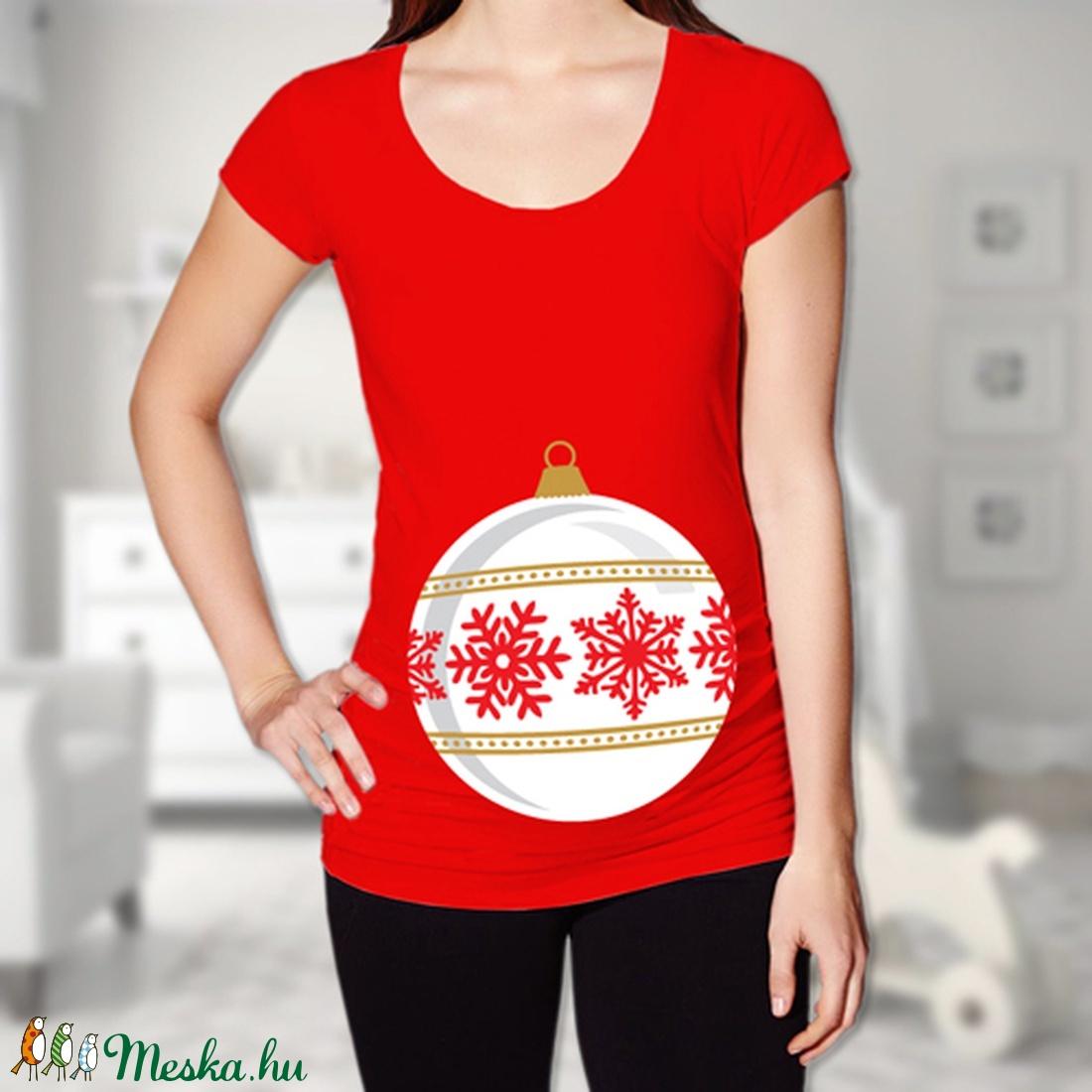 ... Karácsonyi díszgömb kismama póló - több színben (PoloBazis) - Meska.hu 7cc17c4d1b