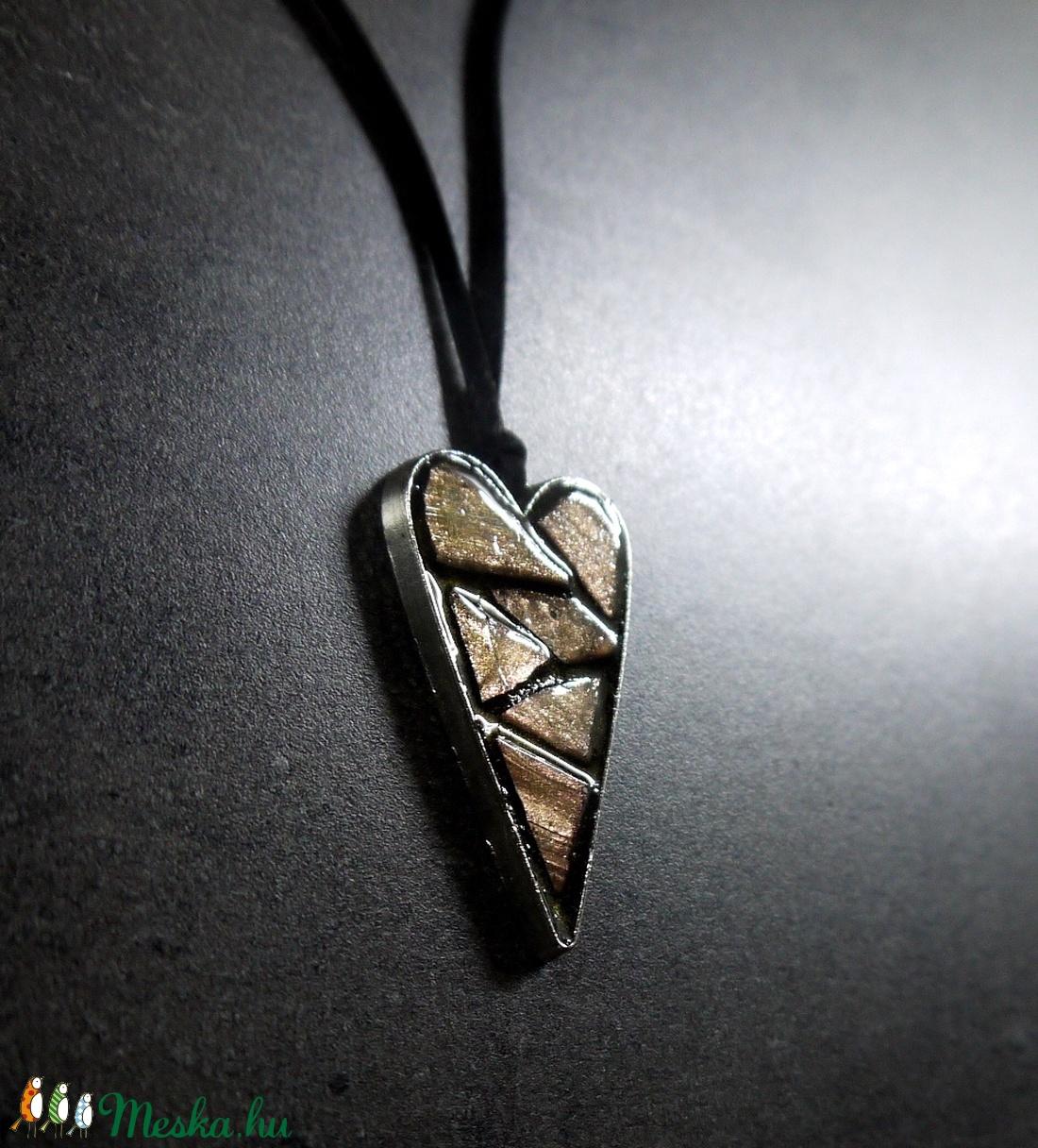 Mozaik medál - rose gold szív  INGYEN POSTA! - ékszer - nyaklánc - medálos nyaklánc - Meska.hu