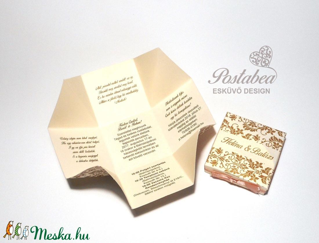 2fee227e04 ... Barokk mintás dobozos esküvői meghívó (Postabea) - Meska.hu