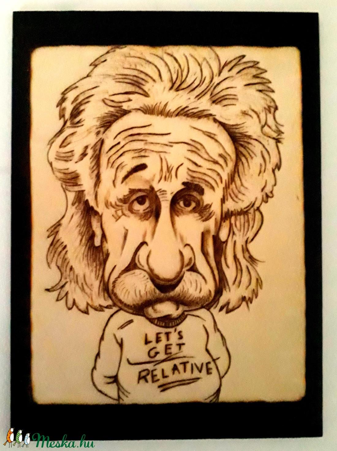 Albert Einstein - kézzel égetett, pirografált kép (PyroProducts) - Meska.hu