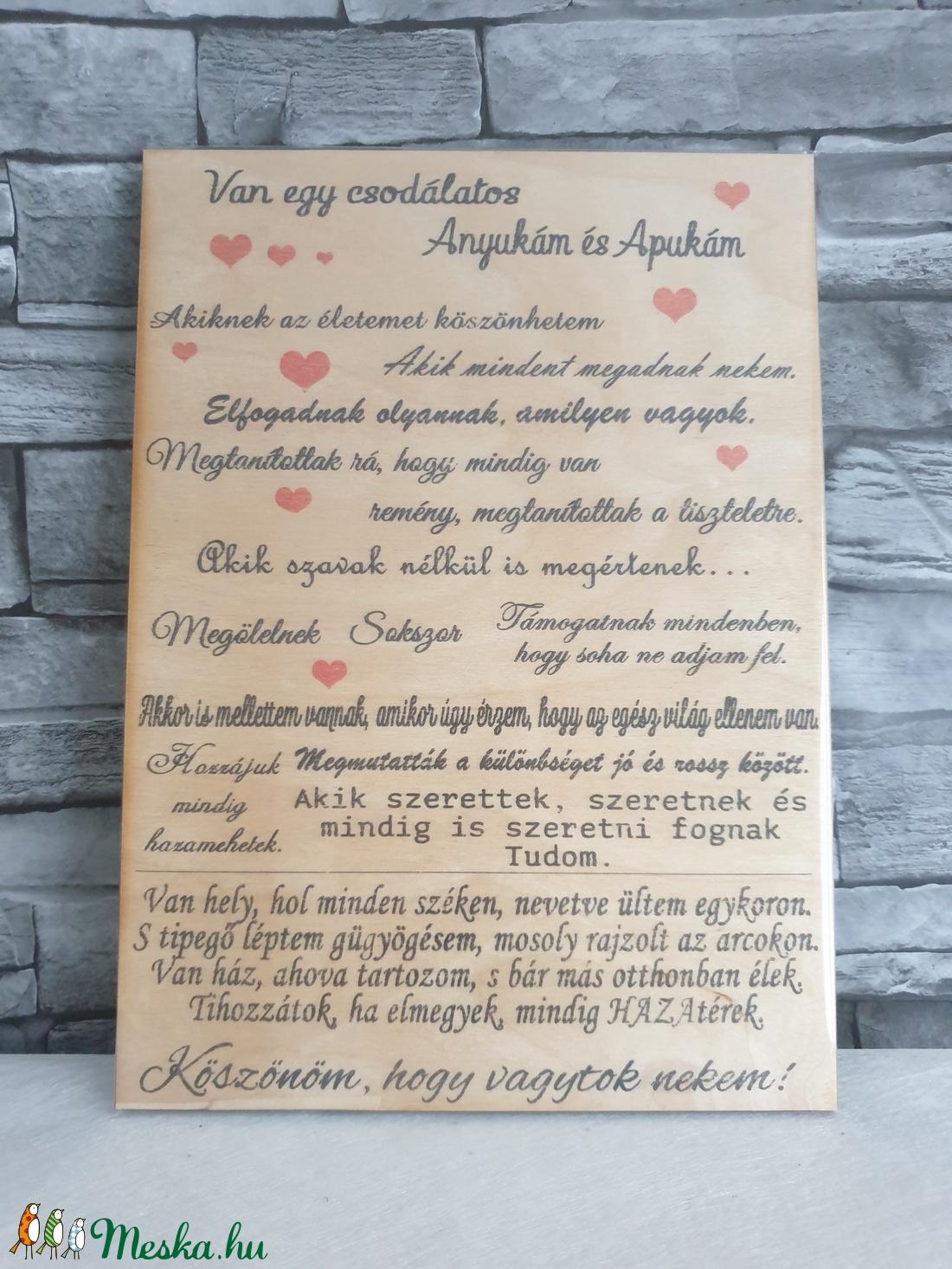 Van egy csodalatos anyukám és apukám  - otthon & lakás - dekoráció - táblakép - Meska.hu