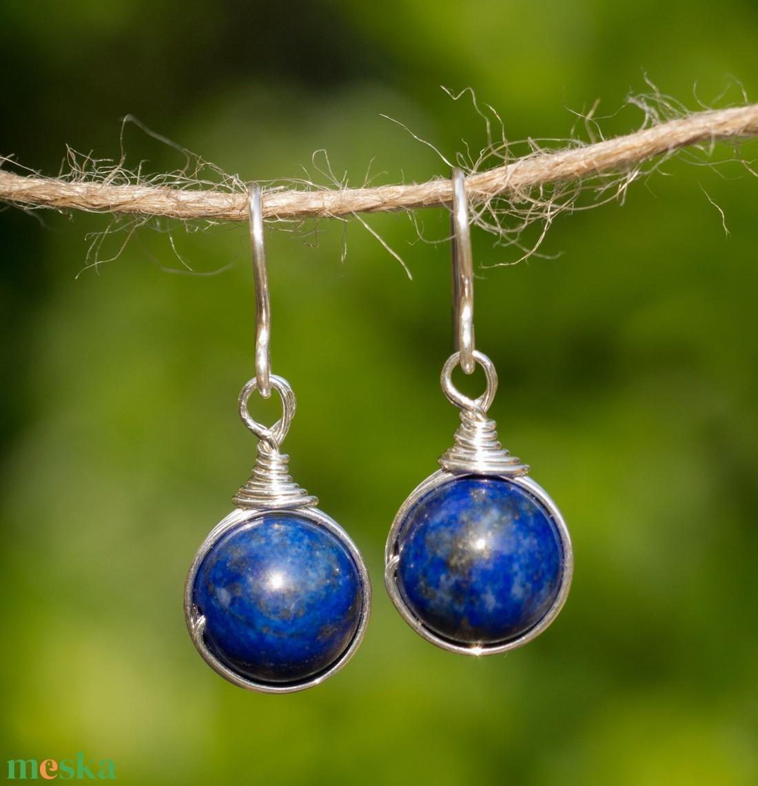 Ezüst lapis lazuli fülbevaló (Revans) - Meska.hu
