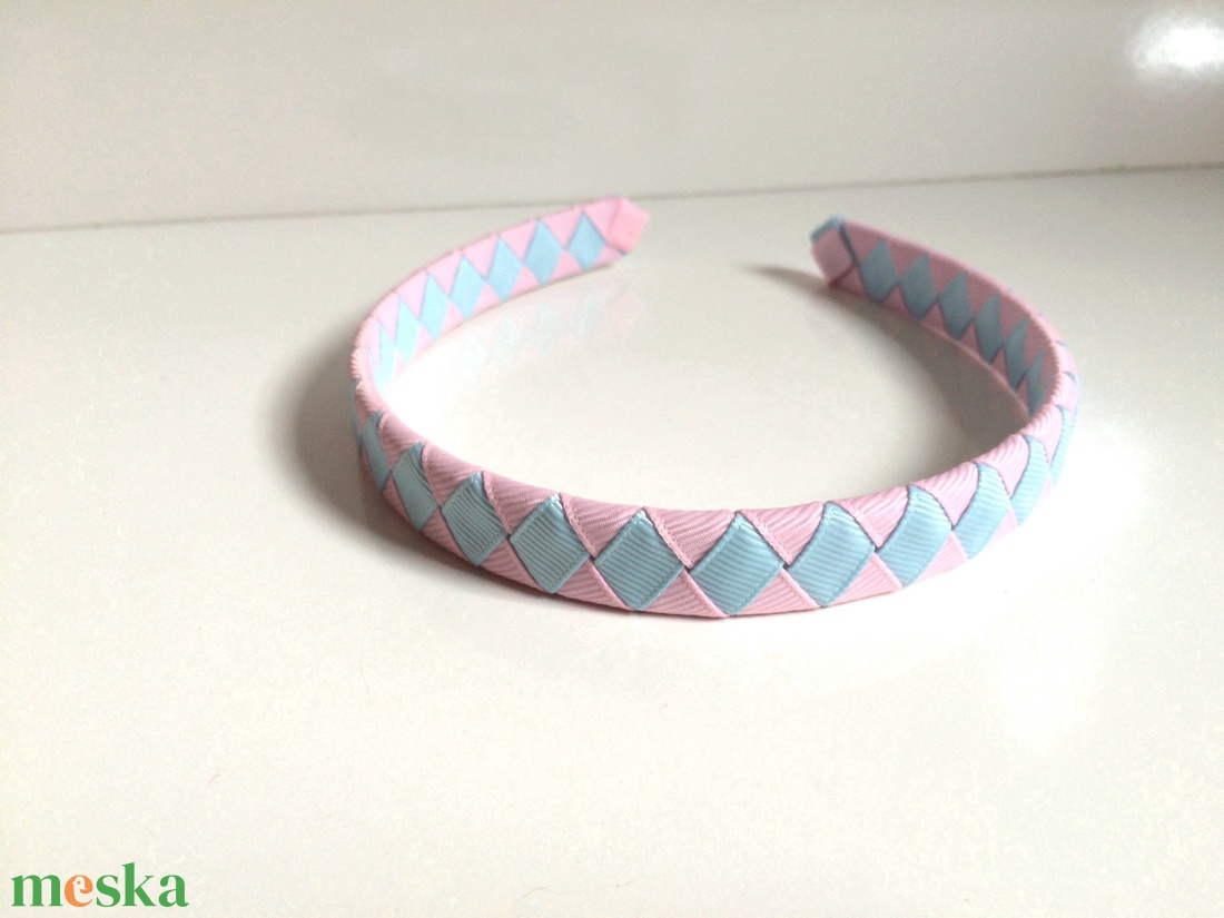 Cikk-cakkos hajpánt (rózsaszín-kék) - ruha & divat - hajdísz & hajcsat - hajráf & hajpánt - Meska.hu