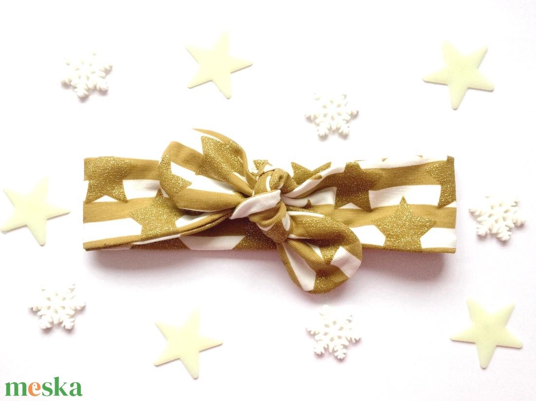 Arany és fehér csíkos, csillogó csillag mintás masnis (csomózott) pamut jersey fejpánt / hajpánt - karácsony - karácsonyi ruházat - Meska.hu