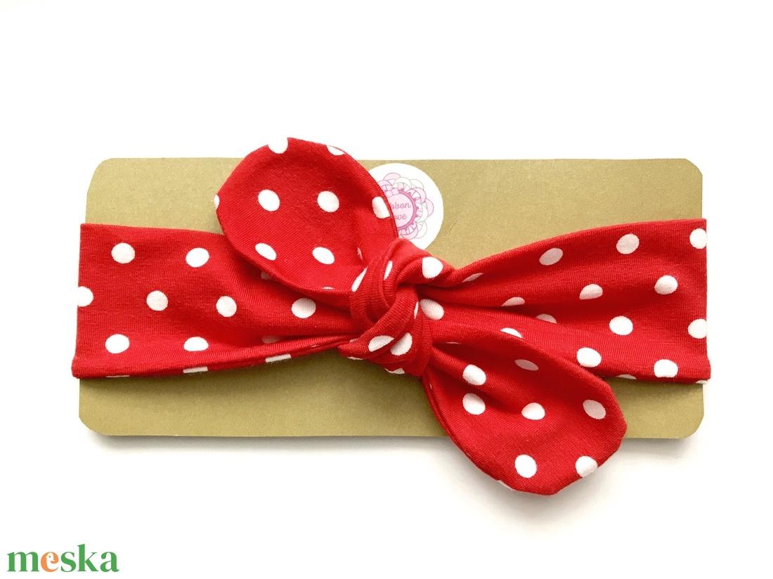 Piros - fehér pöttyös masnis (csomózott) rugalmas pamut fejpánt / hajpánt (RibbonLove) - Meska.hu