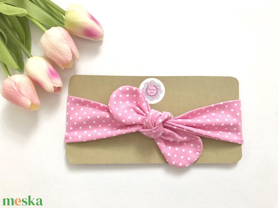 Rózsaszín alapon fehér pöttyös rugalmas pamut fejpánt / hajpánt (RibbonLove) - Meska.hu