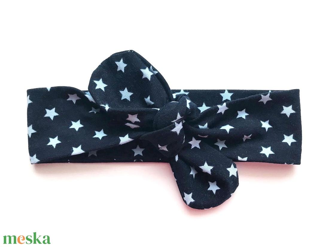 Sötétkék alapon világoskék csillag mintás masnis (csomózott) pamut jersey fejpánt / hajpánt (RibbonLove) - Meska.hu