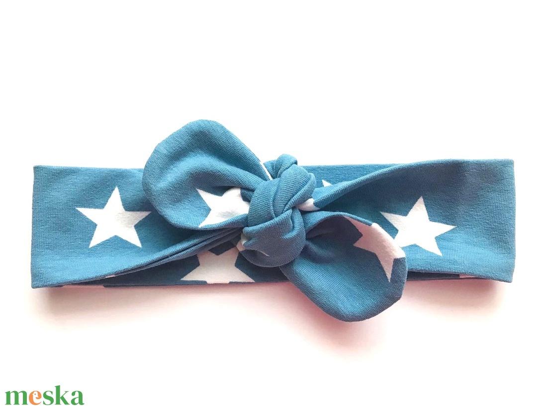 Kék alapon fehér csillag mintás masnis (csomózott) pamut jersey fejpánt / hajpánt (RibbonLove) - Meska.hu