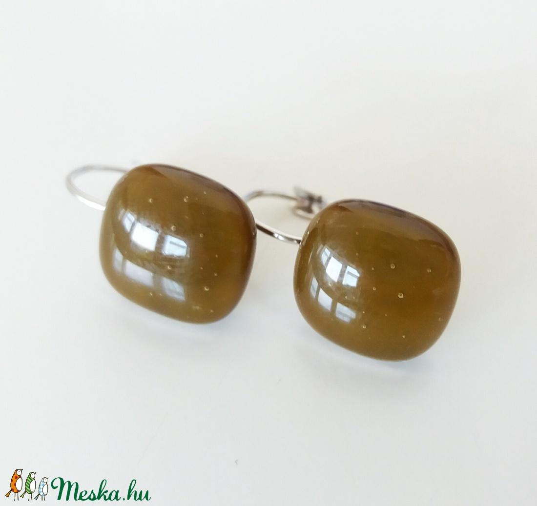 Csokibarna  franciakapcsos  üvegfülbevaló  (ritakata) - Meska.hu