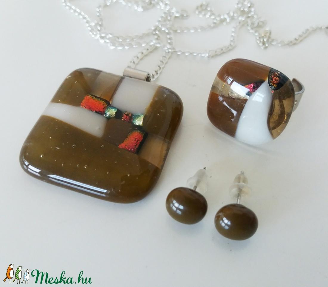 Csoki-krém mozaikos  üvegékszer szett (ritakata) - Meska.hu