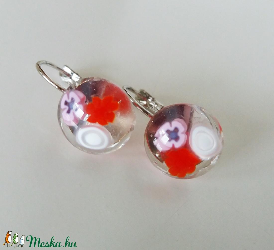 Rózsa  virágos franciakapcsos  üvegfülbevaló  (ritakata) - Meska.hu