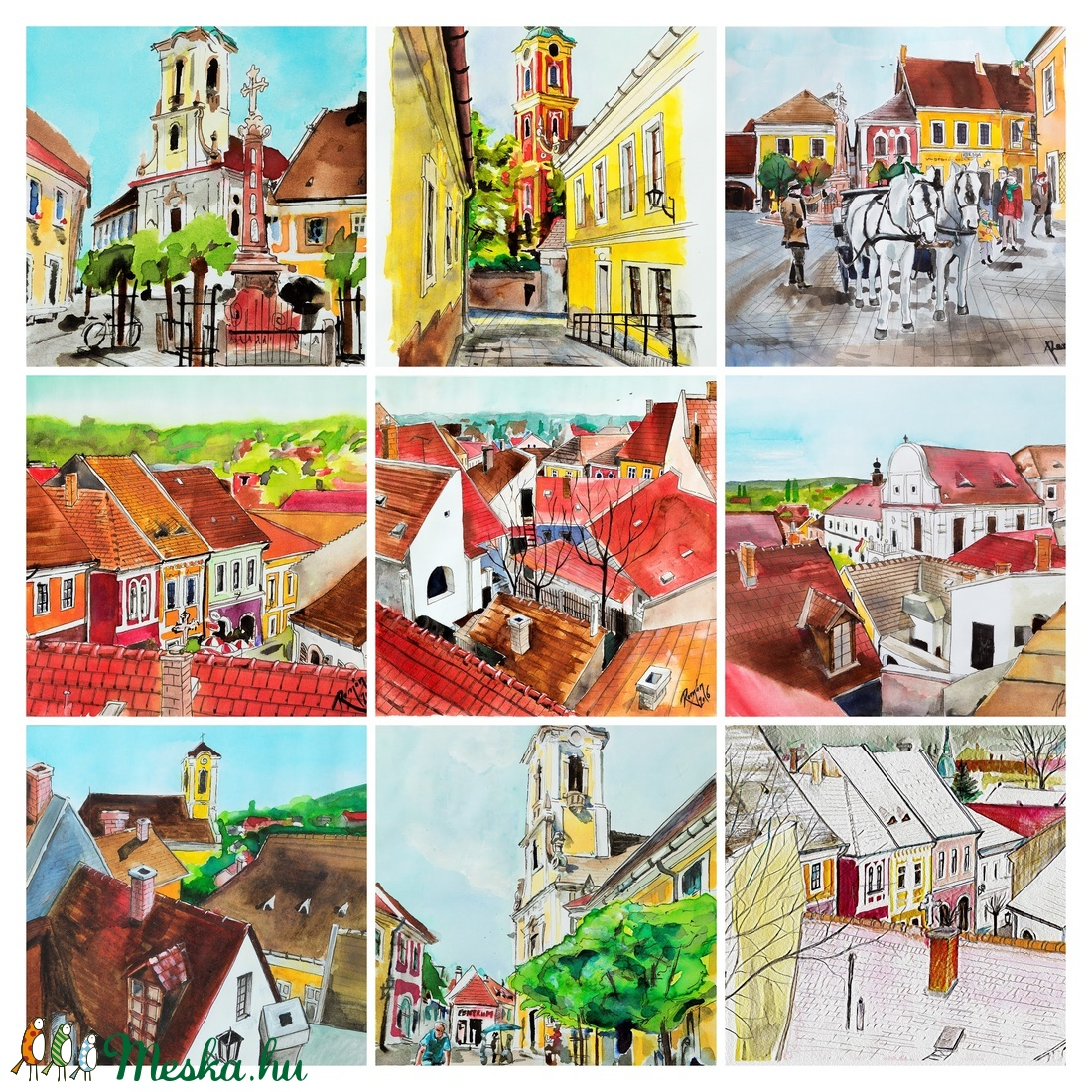 Szentendre, Szentendrei akvarell, Város, Városrészlet, szentendrei festmény, festmény (romandoramaria) Meska.hu