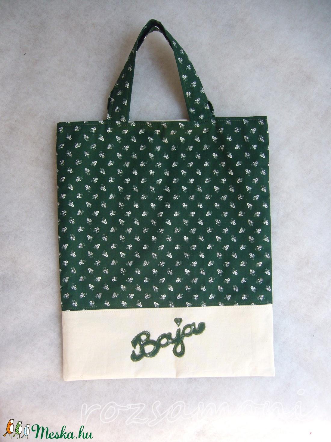 NÉVRESZÓLÓ FELIRATOS ZÖLD 100% pamut vászon bélelt táska 0e888c1b42