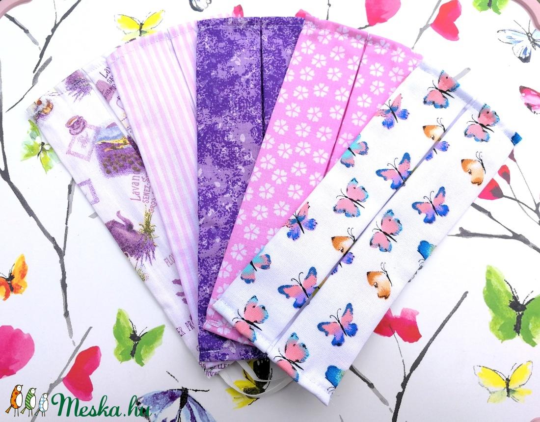 5 db mintás maszk: levendulás maszk, csíkos maszk, lila indás maszk, virágos maszk és pillangós maszk (Ruciwebshop) - Meska.hu