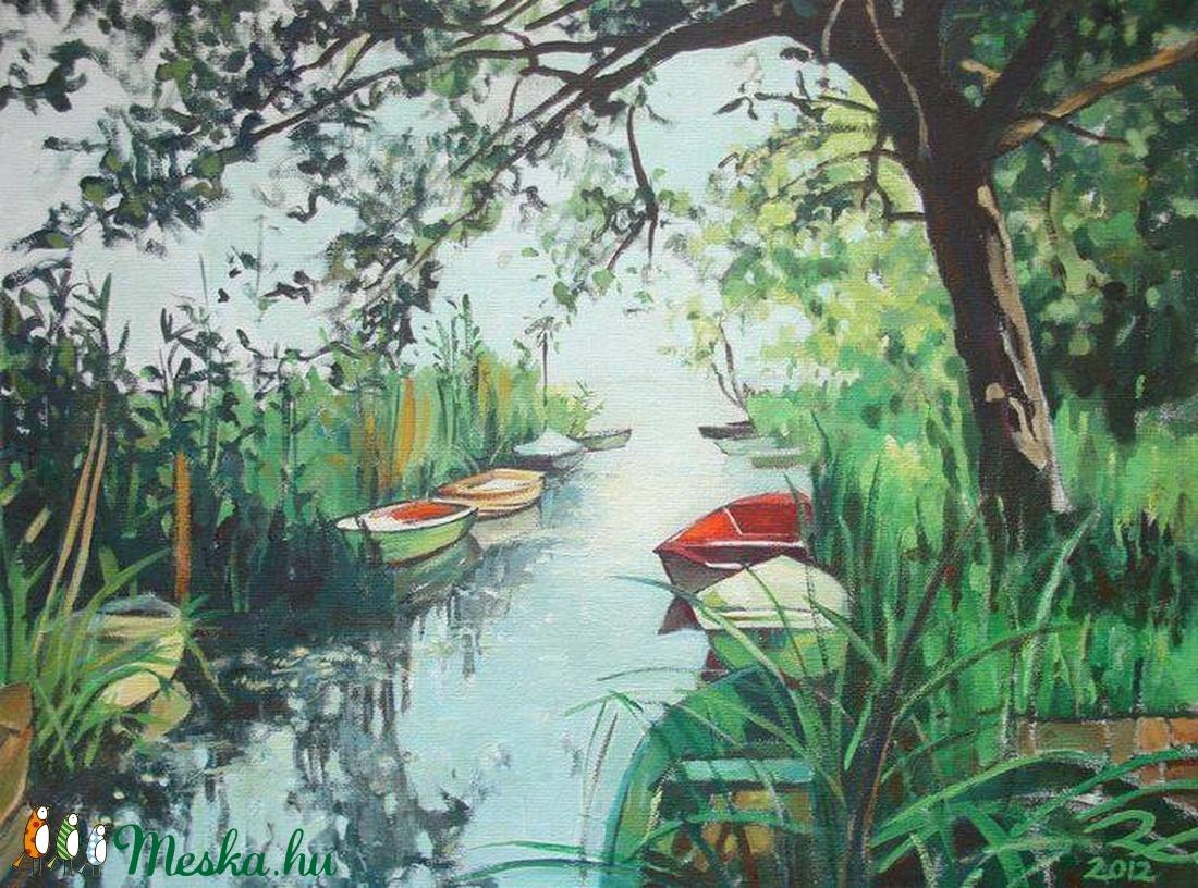 Csónakkikötő - art print (olajfestményem alapján)  (rudaerzsebet) - Meska.hu