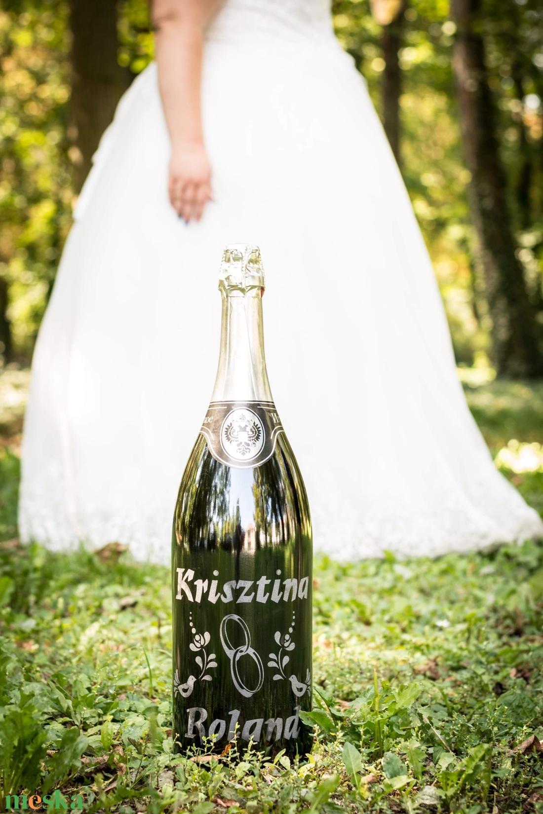 Homokgravírozott esküvői óriáspezsgő (SandblastDesign) - Meska.hu