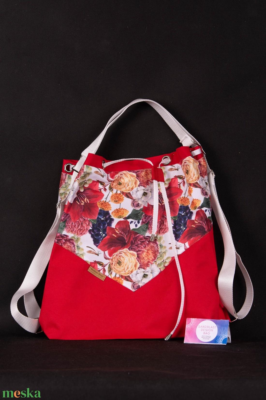 Variálható Design Táska, Piros virágos shopper bag - táska & tok - variálható táska - Meska.hu