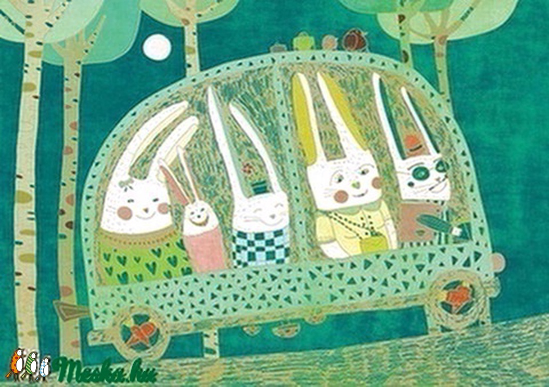 Nyúlút - illusztráció, kép a szobába (schalleszter) - Meska.hu