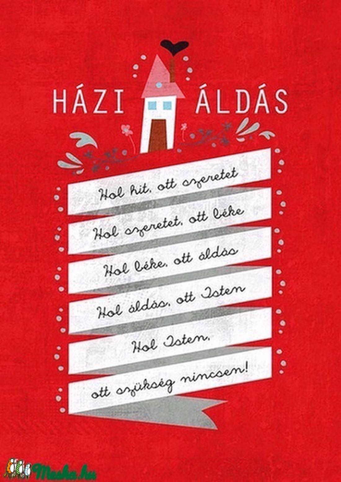 Házi áldás - piros illusztráció, kép a falra (schalleszter) - Meska.hu
