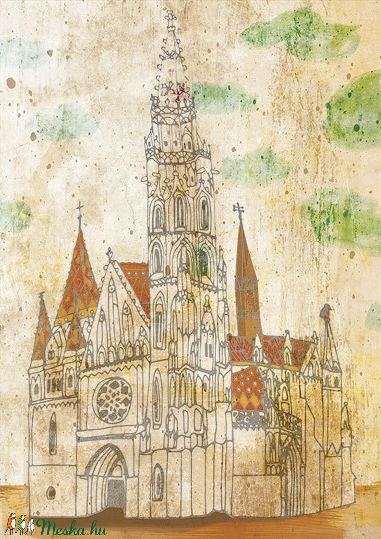 Mátyás templom, Budapest - illusztráció (schalleszter) - Meska.hu