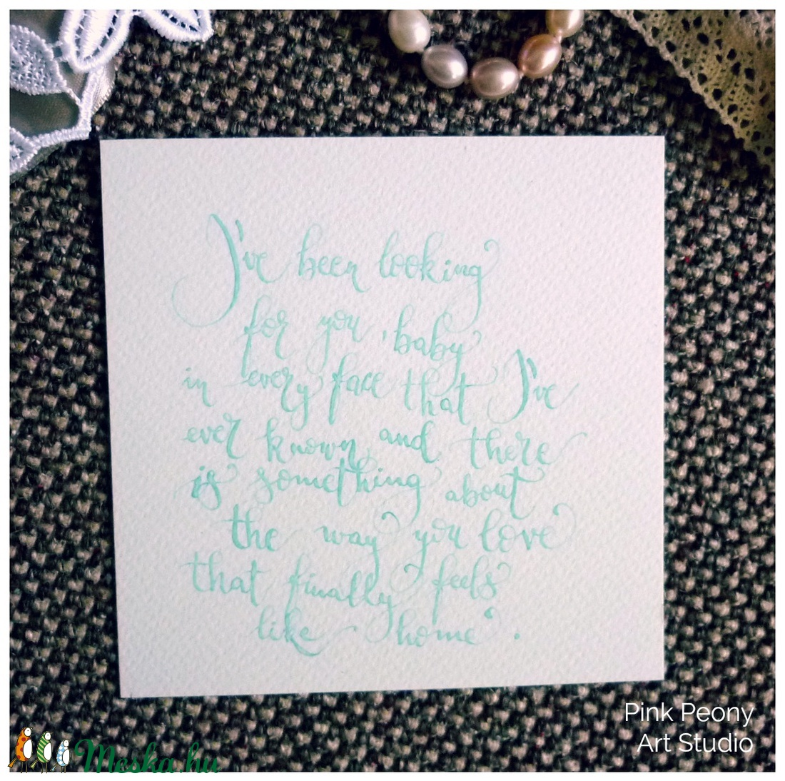 f971dd994100 Esküvői idézet kalligráfia (angol) türkiz kék betűkkel akvarell papíron