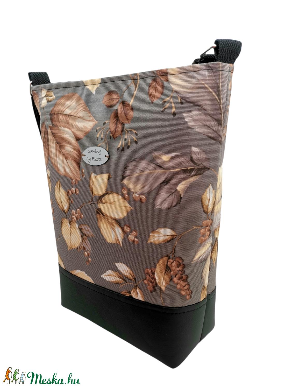 Őszi leveles női nagy táska - barna, bézs és szürke - táska & tok - kézitáska & válltáska - vállon átvethető táska - Meska.hu