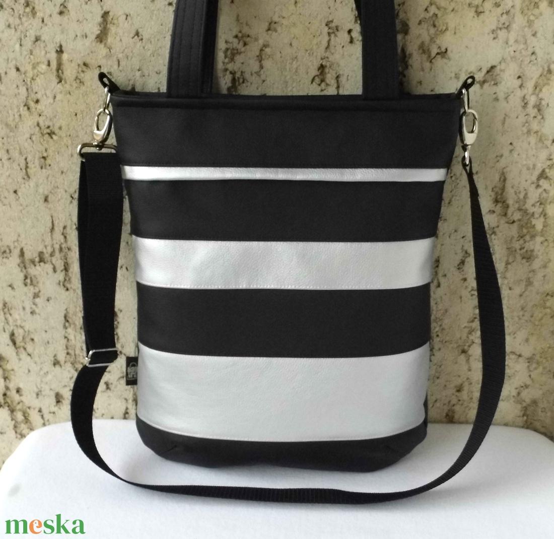 Fekete-ezüst csíkos női táska (smagdi) - Meska.hu 1556d9a934