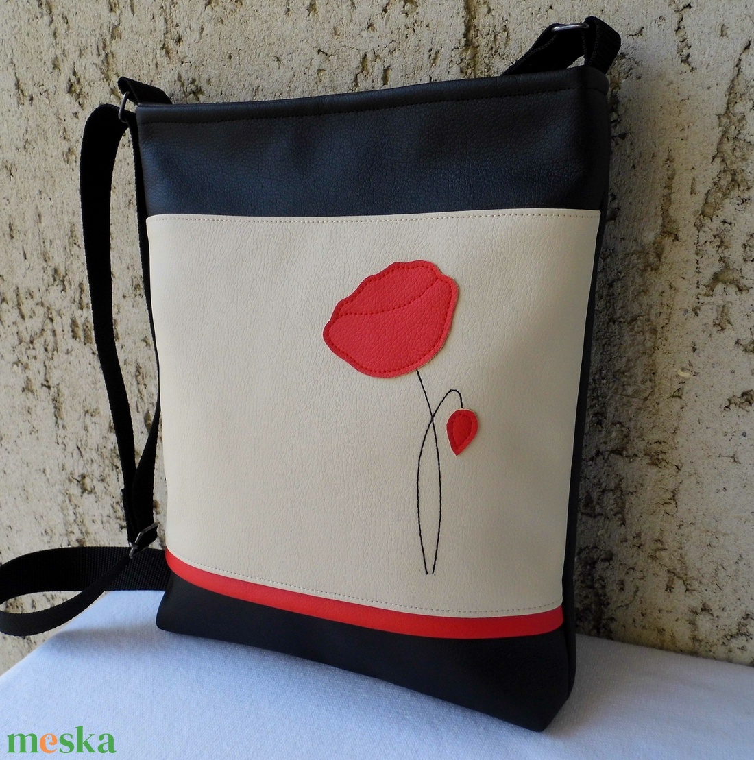 Pipacsos női táska   krém (smagdi) - Meska.hu 5f3cb52b0f