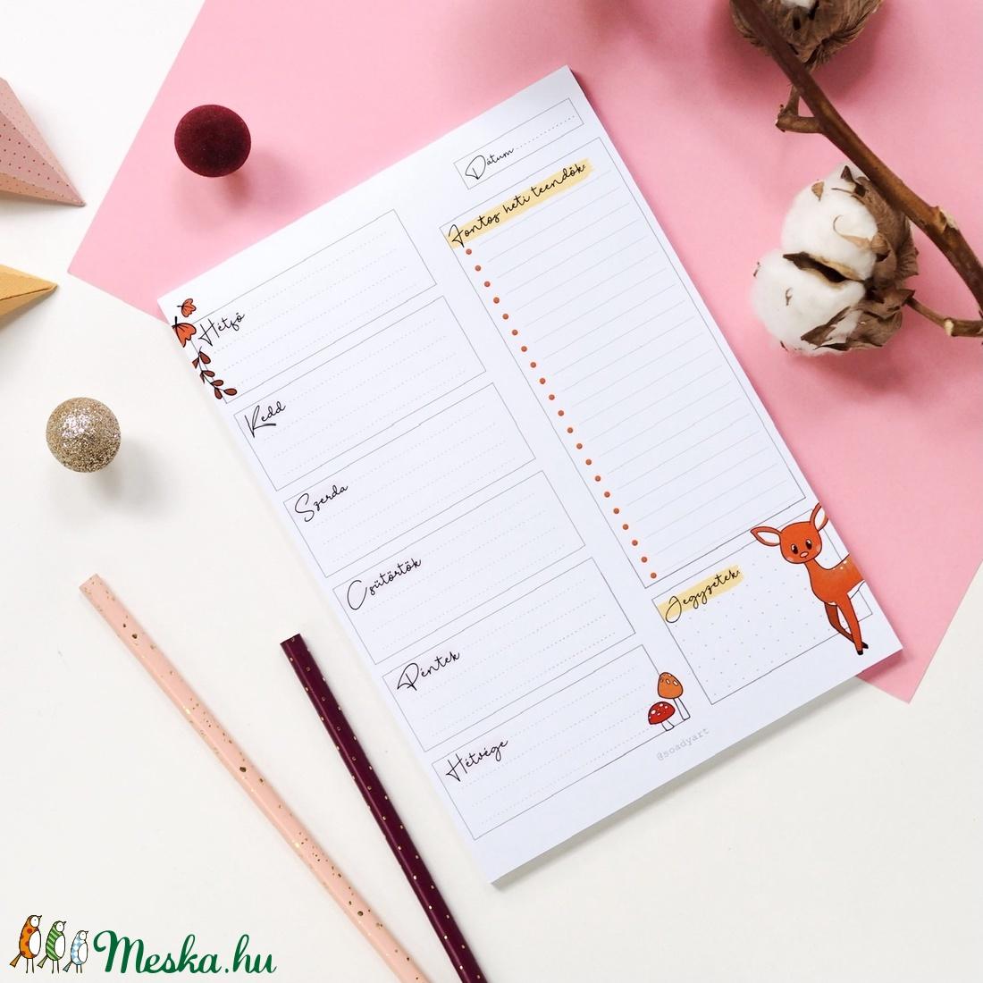 Őszi, heti tervező  jegyzettömb - otthon & lakás - papír írószer - naptár & tervező - Meska.hu