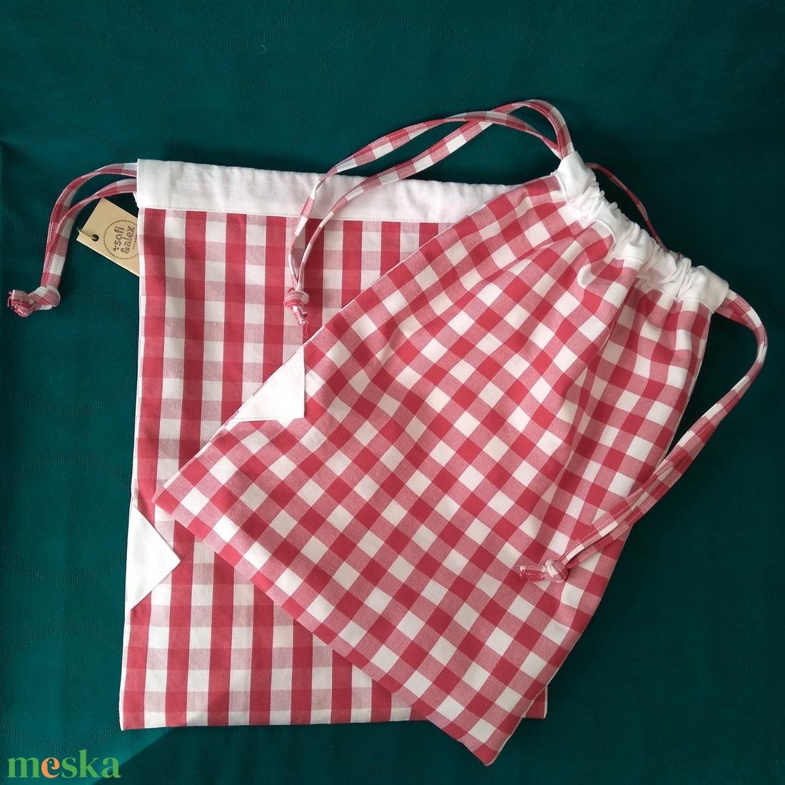 Kockás kenyeres, süteményes tároló zsák - táska & tok - bevásárlás & shopper táska - kenyeres zsák - Meska.hu