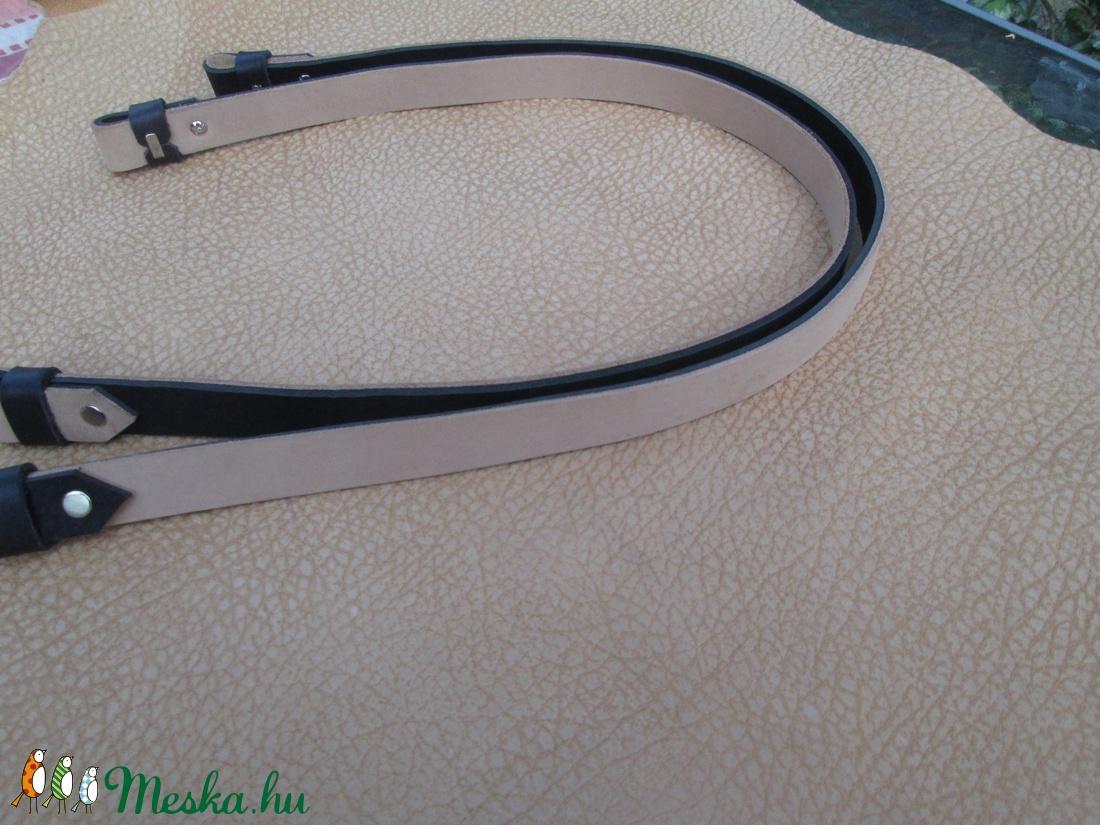 O bag hosszú fül mindkét oldalán használható, bézs-fekete - táska & tok - táskapánt & alkatrész - Meska.hu