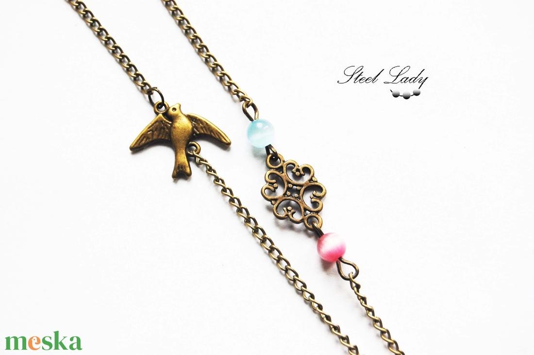 A romantikus Párizs - nyaklánc óra Eiffel toronnyal, rózsákkal és madarakal - ékszer - karóra és ékszeróra - nyaklánc óra - Meska.hu