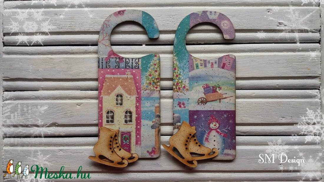 Karácsonyi üdvözlő ajtóra (2 darabos szett) - karácsony - karácsonyi lakásdekoráció - karácsonyi ajtódíszek - Meska.hu