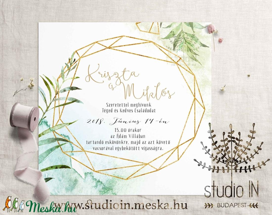 Zöld leveles Meghívó szett, Esküvői Meghívó, Nyári Esküvői meghívó, Romantikus Esküvő, Zöld Meghívó (Studioin) - Meska.hu