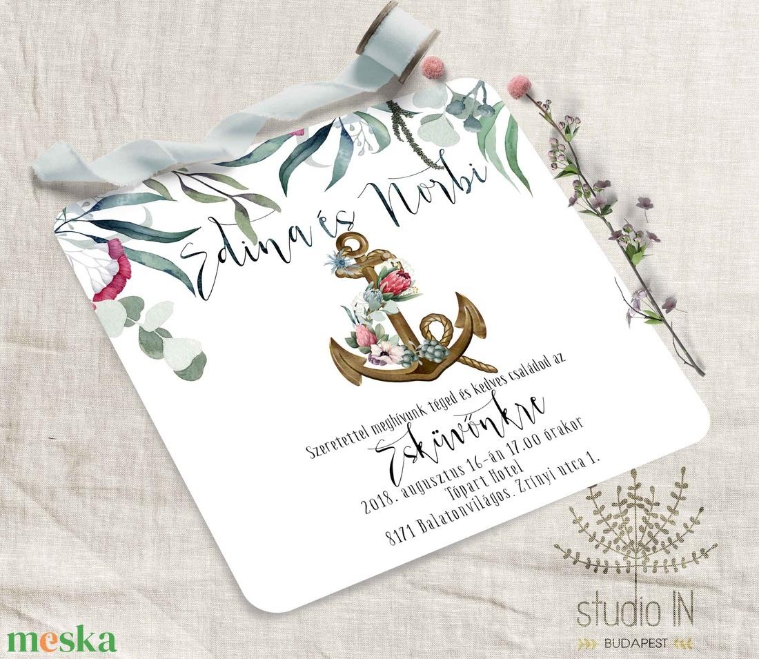 Balatoni esküvői meghívó, vízparti esküvői meghívó, nyári vízparti esküvői meghívó - Meska.hu