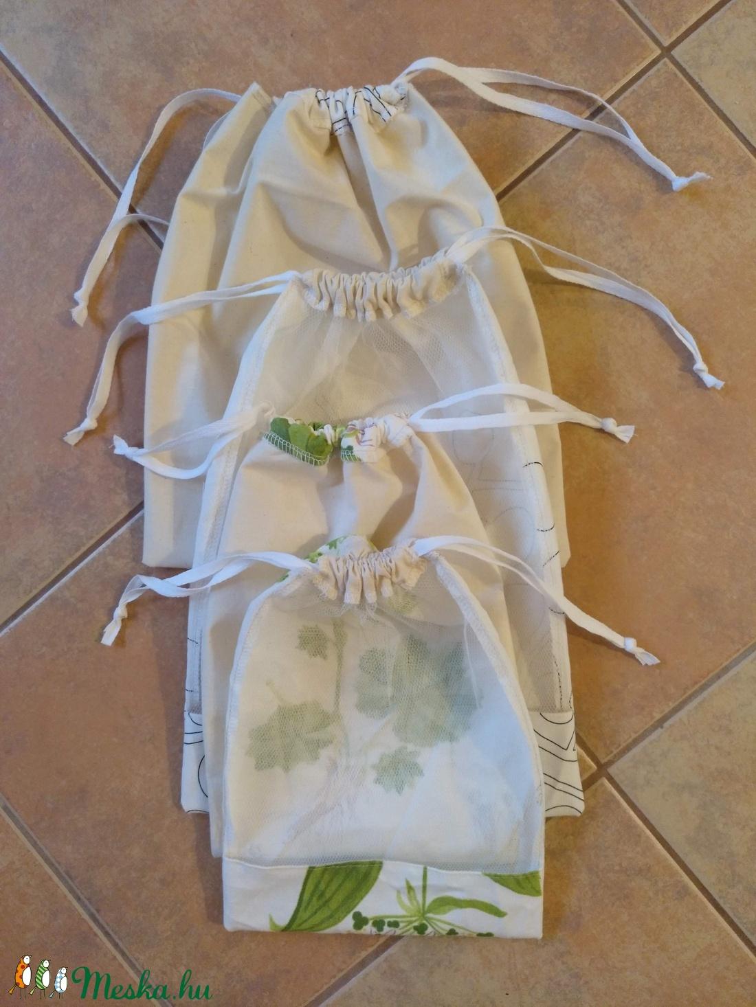 b6d015ab7e85 4 db összehúzható textil zsák, bevásárló táska, műanyag zacskó helyett  pamut tüll szütyő tatyó tatyi öko zacskó