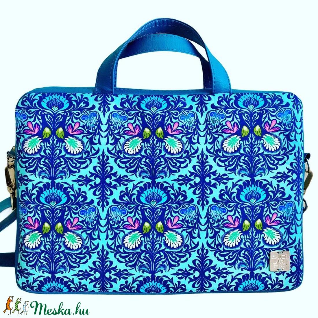 Kék mintás laptop táska - táska & tok - laptop & tablettartó - laptoptáska - Meska.hu